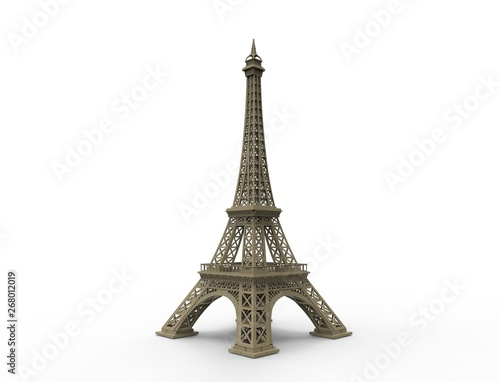3D rendering of the tourist attraction Eiffel tower in Paris France isolated in white studio background. Wall mural