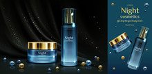 Night Cosmetics Beauty Cream And Serum Bottles Mockup On Black Draped Fabric Background With Golden Sparkles And Pearls. Cosmetic Jar And Tube With Pump, Promo Banner. Realistic 3d Vector Illustration