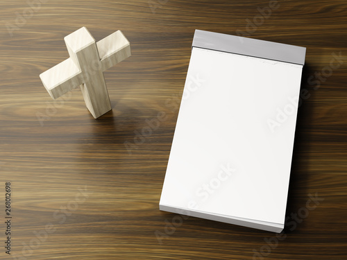 Fotografie, Tablou  bright wooden cross symbol with space for text