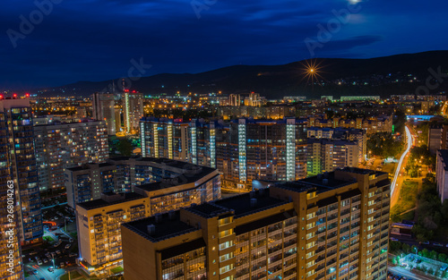Fototapeta Night city of Krasnoyarsk lights ночной Красноярск obraz