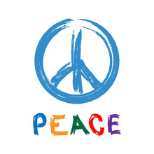 Sign Of Pacific With Text Peace Drawn By Hand. Watercolor Brush, Paint, Graffiti. Vector Illustration.