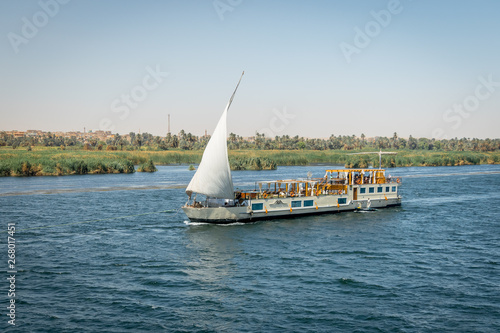 Photo Stands Egypt Cruises on the Nile river. Egypt. April 2019