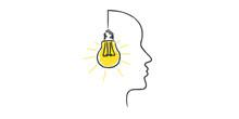 Kopf Mit Glühbirne Hat Idee