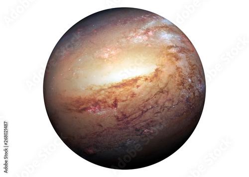 Fotografia  Fantastic yellow planet, isolated on white background