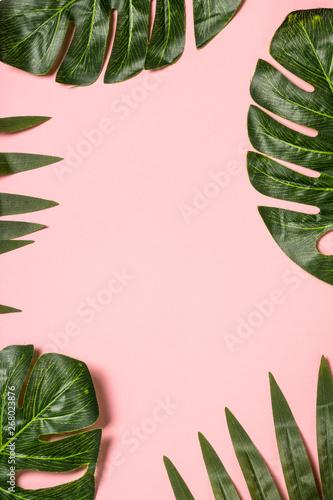 tropikalne-liscie-na-rozowym-tle