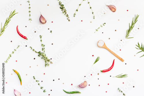 Food background with greens herbs and spices Fototapeta