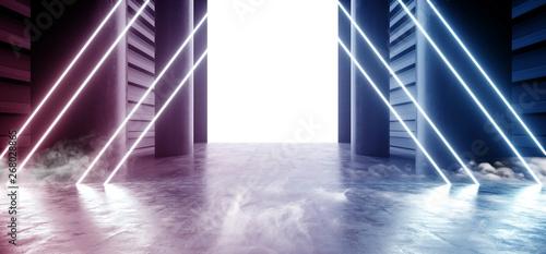 Fototapeta Smoke Neon Laser Fluorescent Blue Purple Futuristic Garage Showroom Tunnel Corridor Concrete Metal Grunge Reflective Empty Space White Glow Showcase Stage Underground Entrance 3D Rendering obraz na płótnie