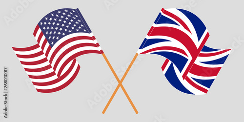 Obraz Crossed and waving flags of the UK and the USA - fototapety do salonu
