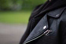 Female Leather Jacket, Detail Close-up Of Suit Jacket Lapel Button Hole Fabric