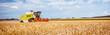 canvas print picture - Mähdrescher erntet reifen Weizen. Landwirtschaft