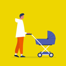 Baby Carriage. Pram. Young Male Character Walking With A Stroller. Modern Parenthood. Flat Editable Vector Illustration, Clip Art