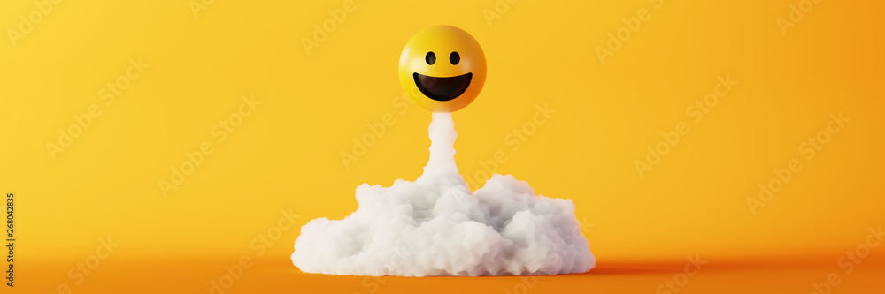 Fototapeta Happy and laughing emoticons 3d rendering background, social media and communications concept