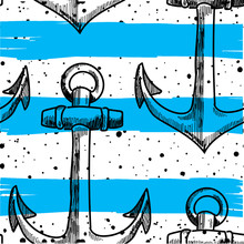Seamless Pattern With Anchors. Hipster Background. Drawing By Hand In Vintage Style. Stylish Background In A Marine Style.