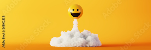 Billede på lærred Happy and laughing emoticons 3d rendering background, social media and communica