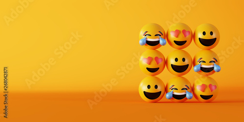 Obraz na plátně  Love and happiness emoticon 3d rendering background, social media and communicat