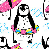 Seamless pattern with penguins. Drawing by hand in vintage style. A sketch, an ink drawing. Cute children's background. Bright, summer colors. - 268043064
