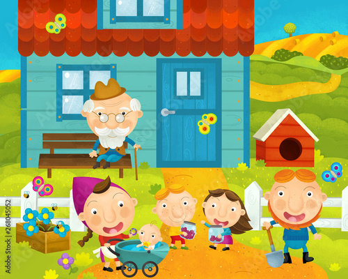 cartoon rural scene with farm and villagers near the house - illustration for ch Fototapeta