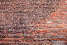 Empty Old Retro Red Brick Wall...