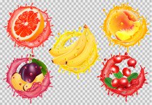 Set Of Fruit Juice Splash. Gra...