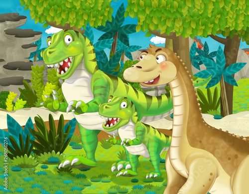 Deurstickers Dinosaurs cartoon scene with dinosaur apatosaurus diplodocus brontosaurus with some other dinosaur with his or her child in the jungle - illustration for children