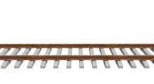 Train Tracks Isolated 3D Rendering
