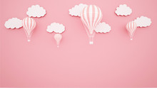 Pink Balloons On Pink Sky Background. Artwork For Balloon International Festival. Paper Cut Or Craft Style. Autumn Season Artwork.3D Illustration.