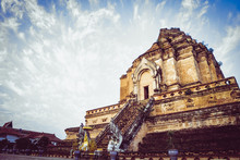 """Famous Temple """"Wat Chedi Luang"""" In Chaing Mai, Thailand"""