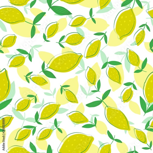 hand-drawn-lemon-seamless-pattern-with-leaves