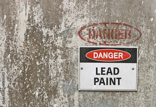 Photo  red, black and white Danger, Lead Paint warning sign