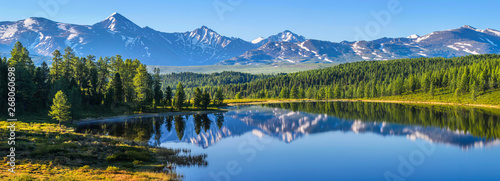 Fototapeta Mountain landscape, picturesque mountain lake in the summer morning, large panorama, Altai obraz