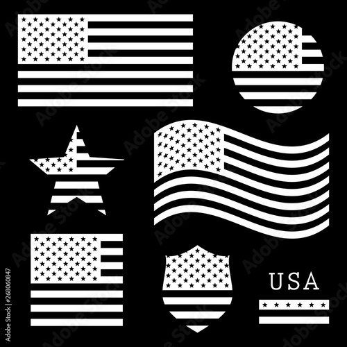 Vintage Usa American Flag Set White Isolated On Black Background