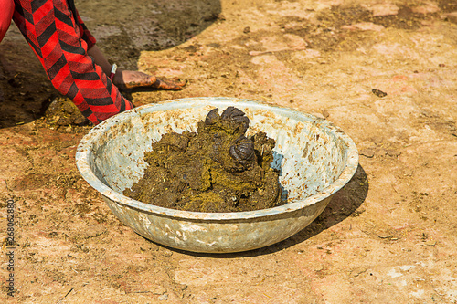 container full of cow dung used as natural fuel in indian villages - background Tapéta, Fotótapéta