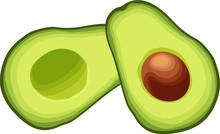 Sliced Avocado Halves. Isolated Vector Illustration On White Background.