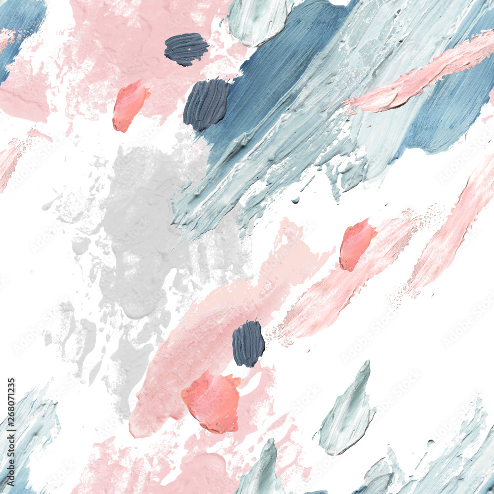 Fototapety, obrazy: Acrylic, oil and watercolor paint rough smears, blots, texture seamless pattern