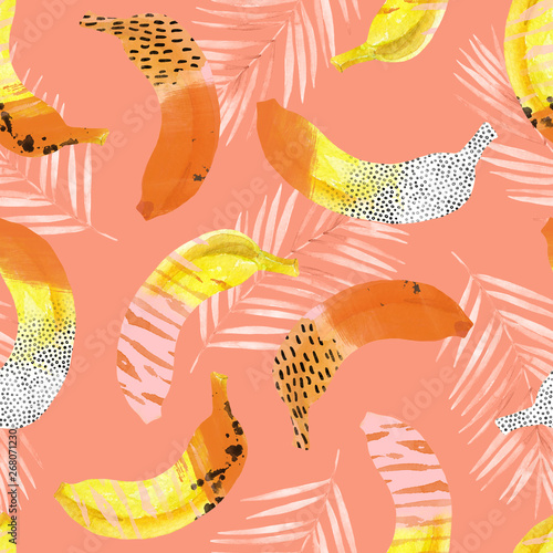 Printed kitchen splashbacks Watercolor Nature Fun bananas and palm leaves print in 80s 90s pop art style.