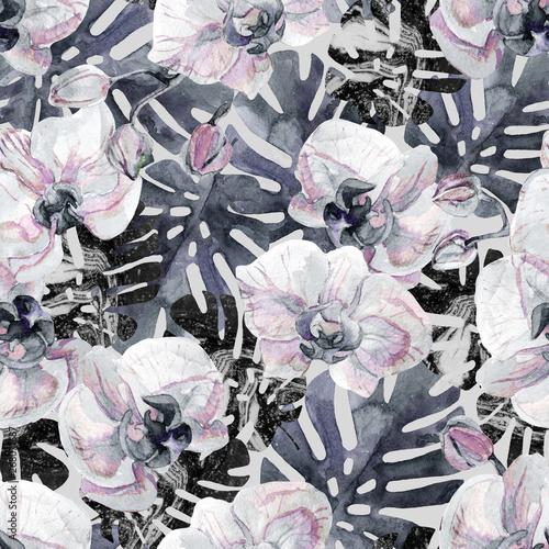 recznie-rysowane-tropikalny-lato-tlo-akwarela-kwiat-orchidei-lisc-monstera-wypelniony-marmurowa-tekstura-kropki