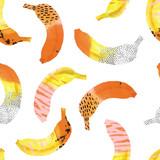 Zabawne banany drukowane w interpretacji stylu memphis. - 268071836