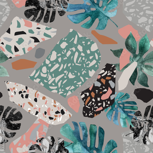 Fotobehang Grafische Prints Tropical watercolor leaves, turned edge geometric shapes, terrazzo flooring elements seamless pattern