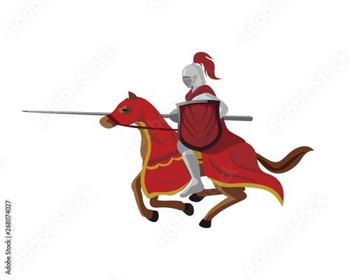 Fotobehang Superheroes Vintage Medieval Knight Horse Cavalry Logo Illustration In White Isolated Background