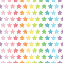 Colorful Stars. Seamless Pattern. Rainbow And Pastel Color Concept. Vector Illustration.