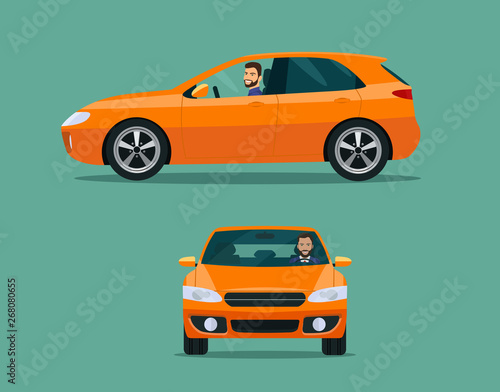 Spoed Foto op Canvas Cartoon cars Orange hatchback car two angle set. Car with driver man side view