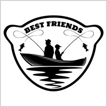 Fishermans And Rods - Best Buds, Silhouette Vector