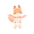 Lovely White Little Bunny and Fox Cub, Cute Best Friends, Adorable Rabbit and Pup Cartoon Characters Vector Illustration