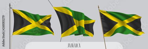 Fotografia Set of Jamaica waving flag on isolated background vector illustration