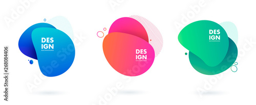 Obraz Set of abstract modern graphic elements. Dynamical colored forms and line. Gradient abstract banners with flowing liquid shapes. Template for the design of a logo, flyer or presentation. Vector. - fototapety do salonu