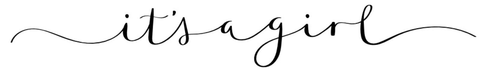IT'S A GIRL black brush calligraphy banner