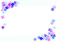 色とりどりの紫陽花の花のイラスト背景、水彩風
