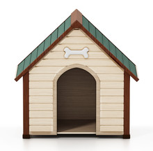 Doghouse Isolated On White Background. 3D Illustration