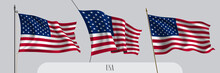 Set Of USA Waving Flag On Isol...