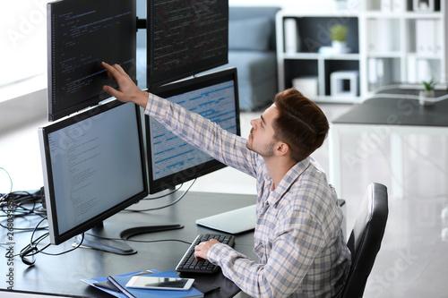 Fotografie, Obraz  Male programmer working in office